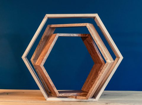 Zeshoekige houten kastjes 3